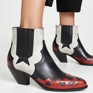 GOLDEN GOOSE SUNSET FLOWERS WESTERN LEATHER BOOTS
